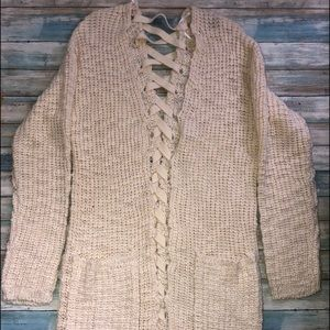 Poof New York Long Sweater with Pockets